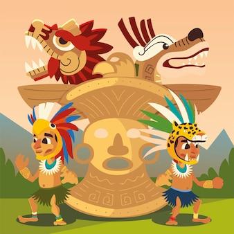Caratteri del guerriero azteco totem e illustrazione antica della civiltà dei serpenti