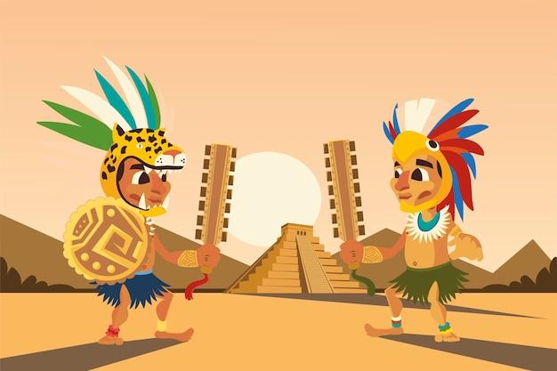 Guerrieri aztechi con scudo arma copricapo e illustrazione di scena piramidale
