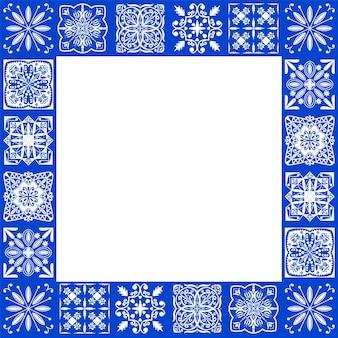 Azulejos pavimento in piastrelle portoghesi, piastrelle blu indaco senza cuciture di lisbona, ceramica geometrica vintage, sfondo vettoriale spagnolo. patchwork interno geometrico marocchino. carta da parati azulejo marocchino