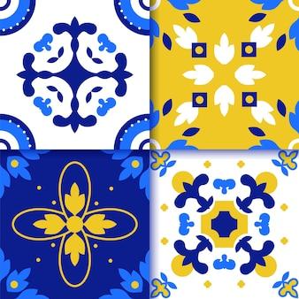 Modello di pavimento piastrellato portoghese azulejos