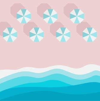 Azzurro pezzo di spiaggia sabbiosa di mare o oceano e ombrellone vista dall'alto vacanza estiva design di sfondo