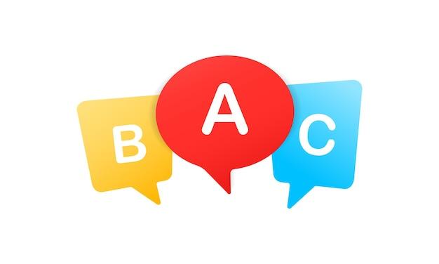 Segno a, b e c. alfabeto per bambini. scuola inglese. apprendimento del concetto di lingua straniera. vettore env 10. isolato su priorità bassa bianca.