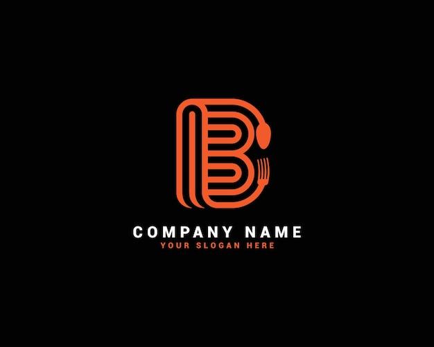 Logo della lettera di cibo b, logo della lettera del cucchiaio b, set di logo della lettera di cibo, alfabeto del cibo