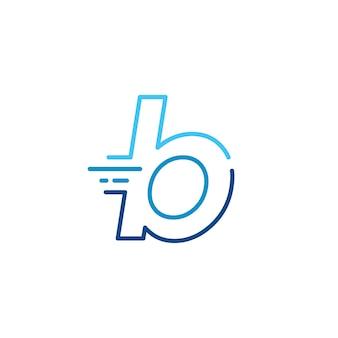 B lettera trattino minuscolo tecnologia digitale veloce consegna rapida movimento linea contorno monolinea logo blu vettore icona illustrazione