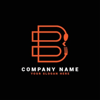 Logo della lettera b, logo della lettera b del cibo, logo della lettera b del cucchiaio