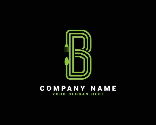 Logo della lettera b, logo della lettera del cibo b, logo della lettera del cucchiaio b