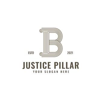 B lettera logo giustizia e studio legale pilastro grassetto linea professionale arte