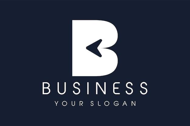 Freccia con logo b. icona moderna dell'illustrazione di vettore di progettazione della lettera b.