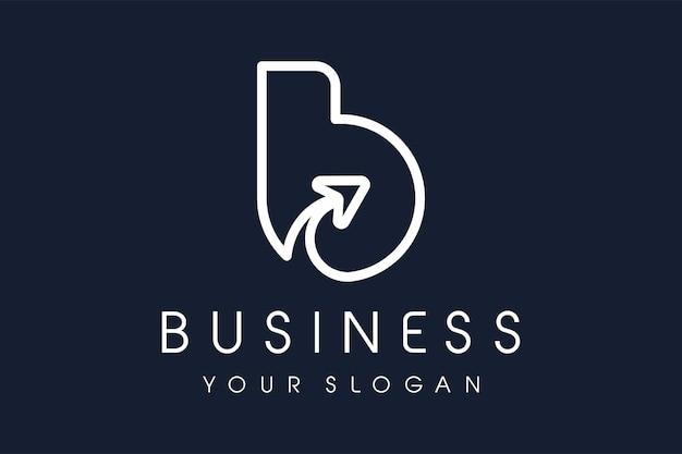 Freccia con logo b. lettera b design illustrazione vettoriale moderna linea mono icona.