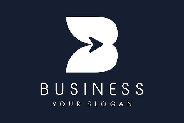 Freccia con logo b. lettera b design illustrazione vettoriale.