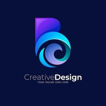 Combinazione di logo b e design a onde, blu