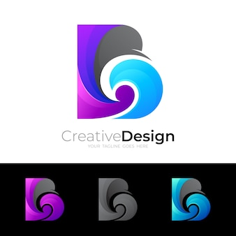 B logo e icona dell'onda, logo della lettera b con combinazione di design a onde, loghi colorati Vettore Premium