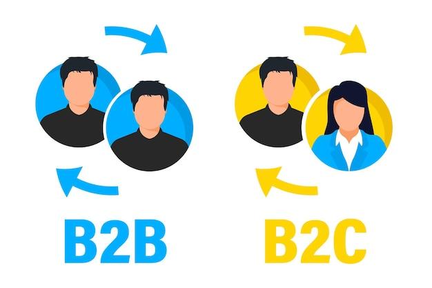 Icona di vettore piatto b2b e b2c. vendite business to business di successo e marketing business to client. concetto di collaborazione e partnership di successo. metodo di vendita b2b, b2c