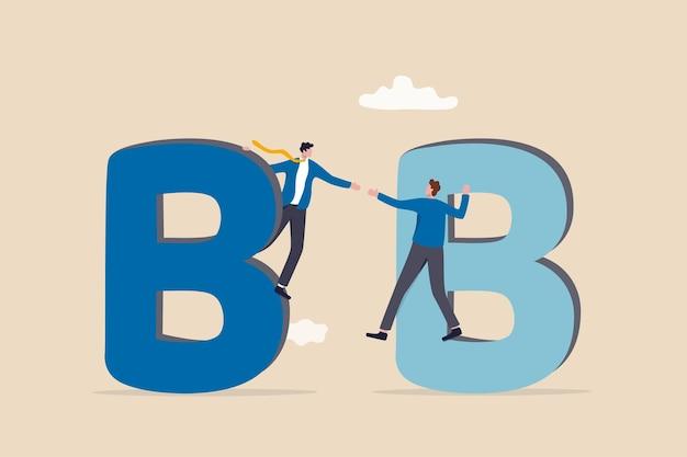 Commercio b2b da impresa a impresa, affare aziendale tra azienda, catena di fornitura o acquisto aziendale, vendita di acquisti con concetto di credito, proprietario dell'azienda di vendita d'affari che stringe la mano sugli alfabeti b.