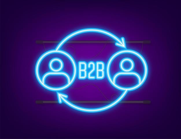 Addetto alle vendite b2b che vende prodotti. icona al neon. vendite business-to-business, metodo di vendita b2b. illustrazione vettoriale.