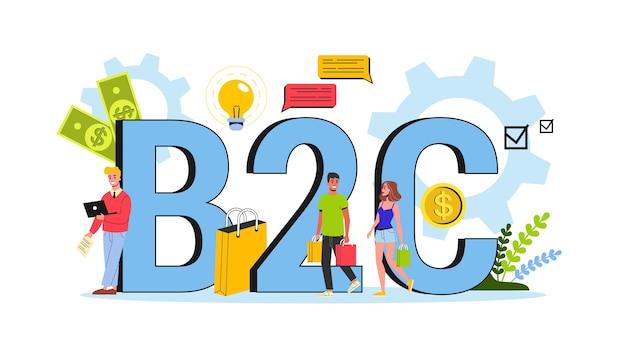 Concetto b2c. strategia business to customer. comunicazione