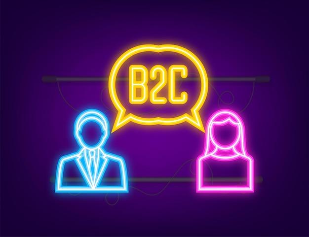 Venditore b2c che vende prodotti icona neon vendite businesstobusiness metodo di vendita b2c