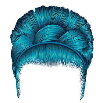 Babette di capelli con i colori blu codino. moda donna alla moda. 3d realistico. acconciatura retrò.