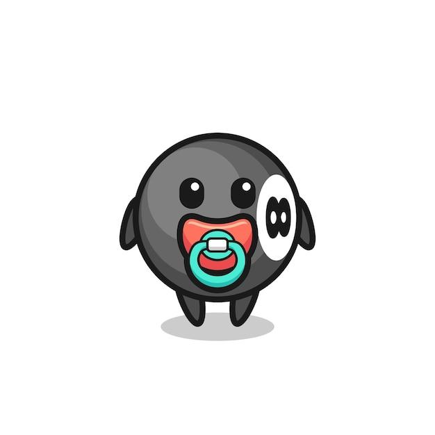 Personaggio dei cartoni animati di biliardo a 8 palle con ciuccio, design in stile carino per t-shirt, adesivo, elemento logo