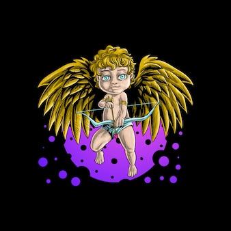 Angeli del bambino che tengono archi e frecce