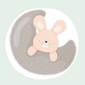 Coniglietto animale bambino sulla luna carino
