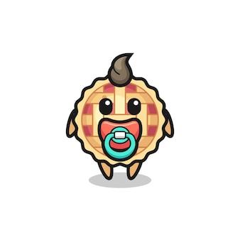 Personaggio dei cartoni animati di torta di mele con ciuccio, design in stile carino per maglietta, adesivo, elemento logo