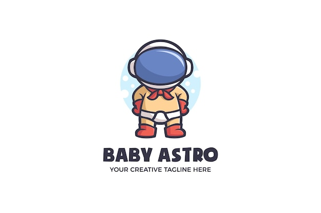 Modello di logo del personaggio della mascotte dell'astronave della galassia dell'astronauta del bambino