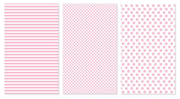 Sfondo bambino. modello rosa. illustrazione. pois, strisce, motivo a stelle.