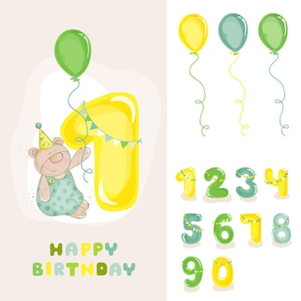 Baby bear birthday card con invito di numeri