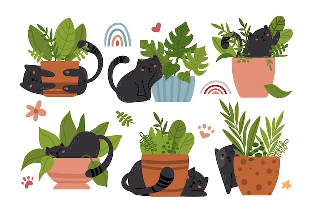 Bambino gatto nero bambini isolato clip art set. pacchetto di articoli per la scuola materna di gattini divertenti e piante in vaso per la casa