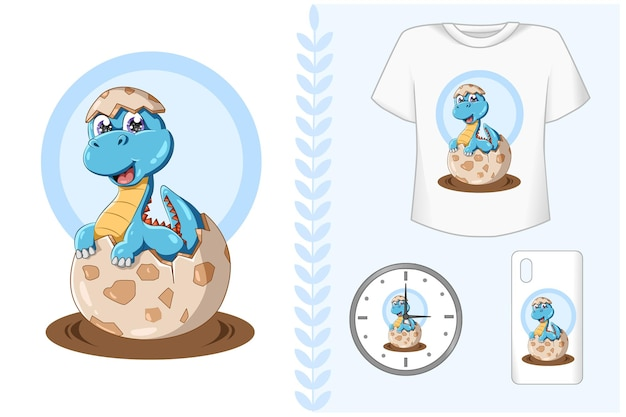 Baby dinosauro blu sul set di branding animale uovo