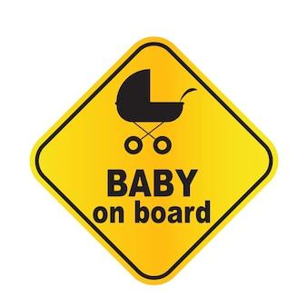 Illustrazione vettoriale del segno del bambino a bordo