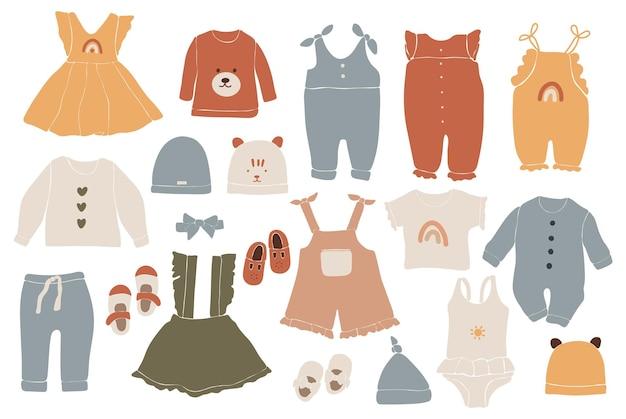 Vestiti boho per bambini, vestiti boho astratti, abbigliamento minimal carino per bambini, abbigliamento, set per neonati, elementi astratti per bambini