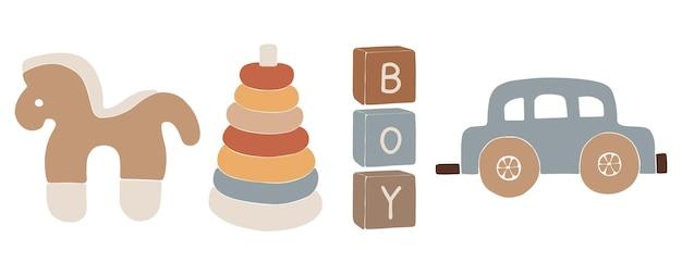 Giocattoli boho per bambini, giocattoli boho astratti, simpatico giocattolo minimale per bambini, giocattoli, set di giocattoli, elementi in legno per bambini