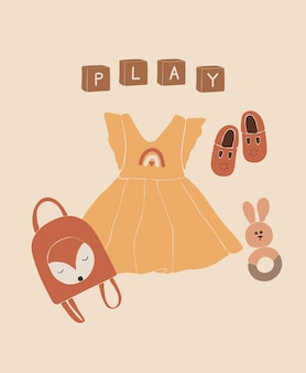 Baby boho giocattoli e vestiti, giocattoli astratti bambina.