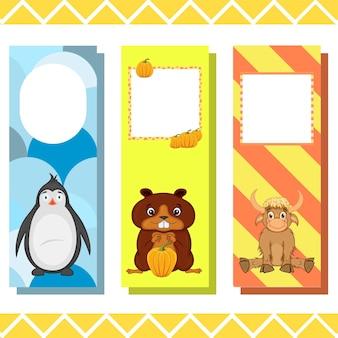 Segnalibri per bambini con simpatici animali, grafica vettoriale.