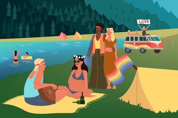 Rappresentazione della generazione del baby boom. concetto di gruppo sociale, tipo di generazione. boomer, cultura hippie. illustrazione