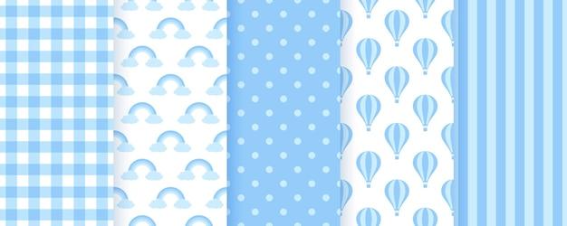 Modelli pastello fiocco bambino. sfondi blu senza soluzione di continuità. illustrazione vettoriale.