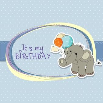 Scheda di compleanno del neonato con l'elefante