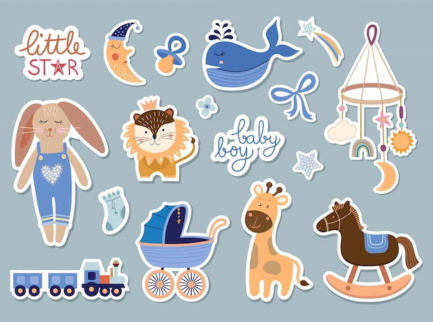 Collezione di elementi baby boy, set di adesivi baby shower, design alla moda