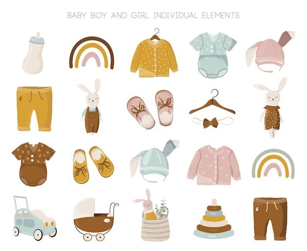 Insieme di elementi dei vestiti della ragazza e del neonato.