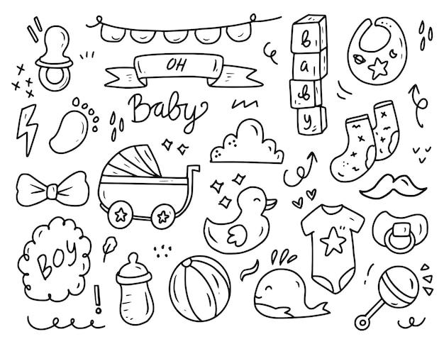 Insieme della raccolta del disegno di doodle del partito della doccia del neonato