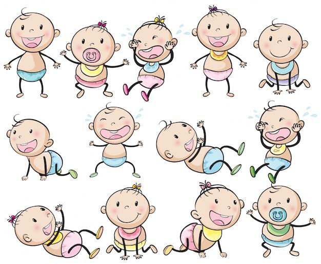 Neonati e ragazze in molti posti