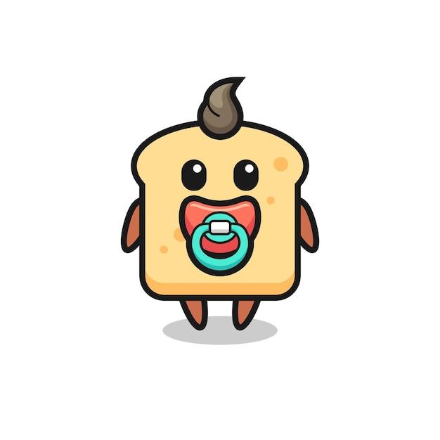 Personaggio dei cartoni animati di pane per bambini con ciuccio, design in stile carino per maglietta, adesivo, elemento logo