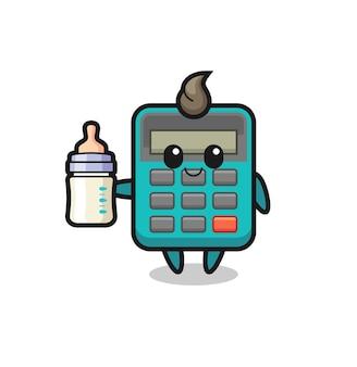Personaggio dei cartoni animati calcolatrice bambino con bottiglia di latte, design in stile carino per t-shirt, adesivo, elemento logo