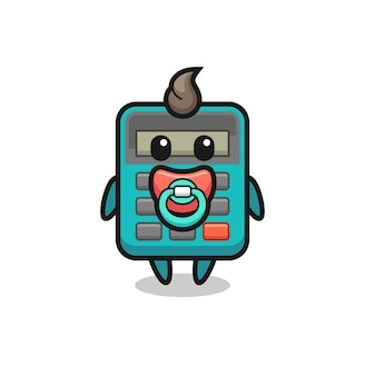 Personaggio dei cartoni animati della calcolatrice per bambini con ciuccio, design in stile carino per maglietta, adesivo, elemento logo