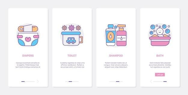 Articoli per l'igiene della cura del bambino, ux, schermata della pagina dell'app mobile di onboarding dell'interfaccia utente impostata con prodotti di linea