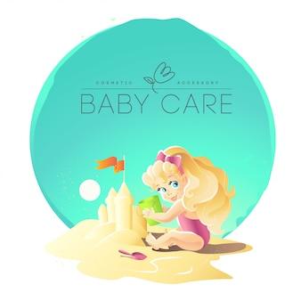 Modello di logo di cura del bambino