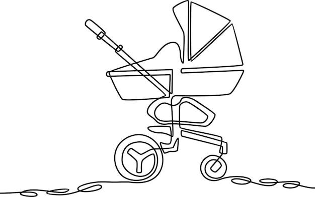 Illustrazione vettoriale di disegno a tratteggio continuo della carrozzina