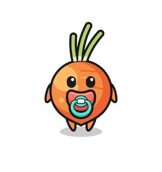 Personaggio dei cartoni animati di carota con ciuccio, design in stile carino per maglietta, adesivo, elemento logo